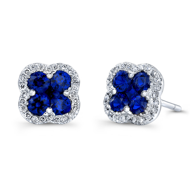 Natural Color White Gold Shire Flower Diamond Earrings