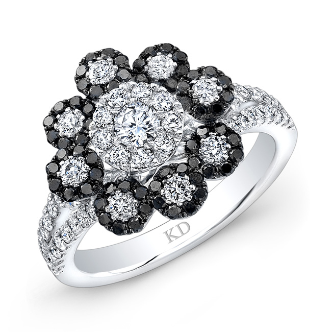 White gold inspired fashion black and white flower diamond ring white gold inspired fashion black and white flower diamond ring mightylinksfo