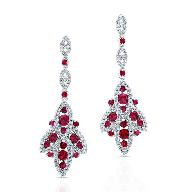 Natural Color White Gold Vintage Ruby Diamond Earrings