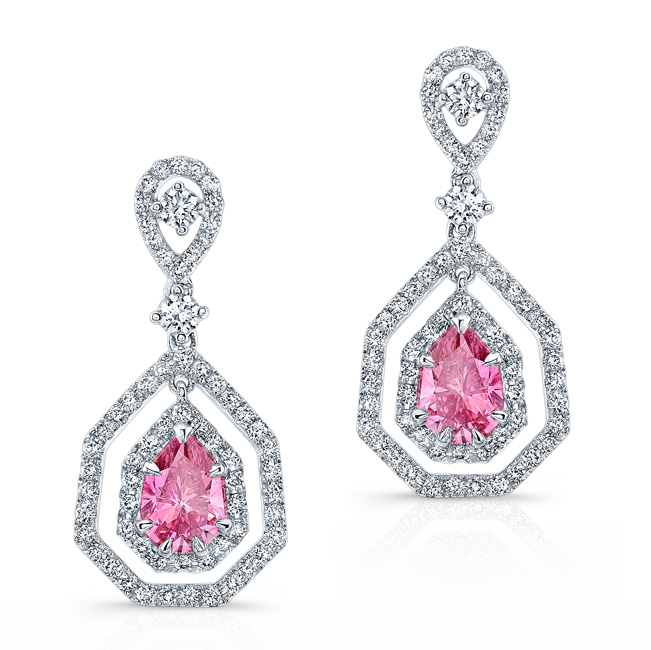 632c698a7c2 White Gold Elegant Pink Enhanced Pear Diamond Droplet Earrings