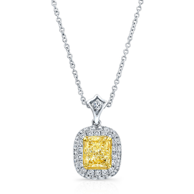 White and yellow gold cushion fancy yellow halo diamond pendant white and yellow gold cushion fancy yellow halo diamond pendant mozeypictures Image collections